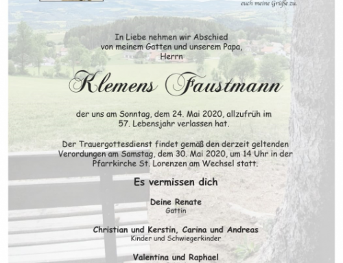 27.05.2020 – HFM Klemens Faustmann verstorben